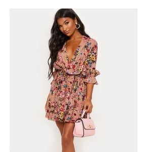 Pretty Little Thing Pink Skater Floral Dress